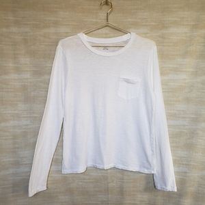 Madewell L white long sleeve one pocket crew tee